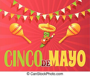 meksykanin, afisz, mayo, od, cinco, ogórek, święto