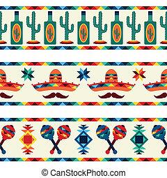 meksykanin, ikony, seamless, brzegi, style., krajowiec