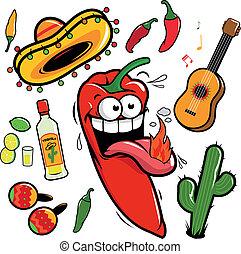 meksykanin, pepper., mariachi, zbiór, wektor, chili, rysunek