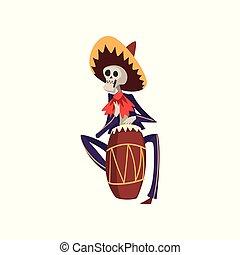 meksykanin, szkielet, bęben, krajowy, od, dia, ilustracja, muertos, wektor, zmarły, tło, etniczny, biały, interpretacja, dzień, kostium