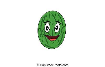 melão, fruta, caricatura