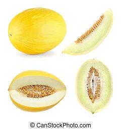 melão honeydew, corte, em, 4, diferente, formas