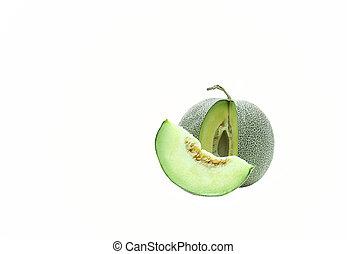 melão, verde, japoneses, isolado
