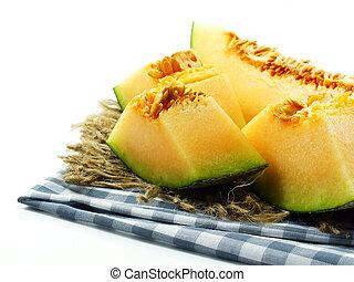 melón, cierre, melón cantalupo, arriba, rebanadas