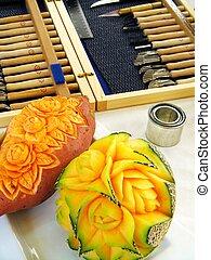 melón, dulce, escultura, -, papa