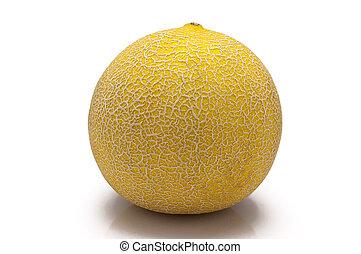 melón, fondo blanco, aislado, amarillo