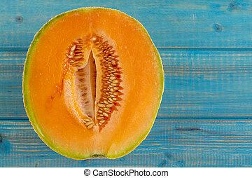 melón, fresco, melón cantalupo, orgánico