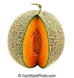 melón, melón cantalupo, rebanadas