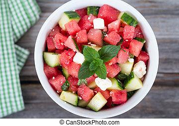 melón, sano, menta, feta, ensalada