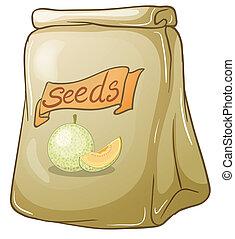 melón, semillas, paquete