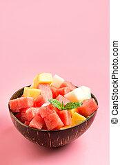 melón, text., pink., ensalada, vertical., tropical, mango, tazón, espacio, verano, eating., coco, limpio, sandía