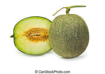 melões, cortado, experiência verde, fresco, branca