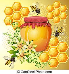 mel, abelhas, jarro, fundo