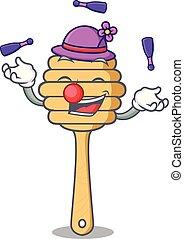 mel, colher, mascote, juggling, caricatura