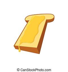 mel, fatia pão, caricatura, ícone