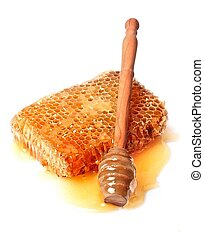 mel, fim, mergulhador, cima, favo mel