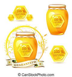 mel, frasco vidro