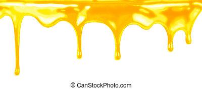 mel, gotejando, branco, fundo