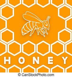 mel, laranja, favo mel, fundo, abelha