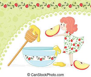 mel, maçã