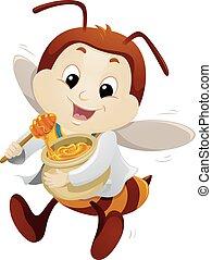 mel, mascote, doutor, abelha