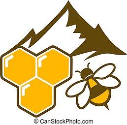 mel, montanha, natural, ícone