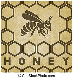 mel, vindima, favo mel, fundo, abelha