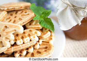 mel, waffles, ligado, um, prato