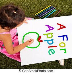 mela, alfabeto, scrittura, cultura, ragazza, mostra,...