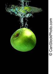 mela, cadere, in, acqua