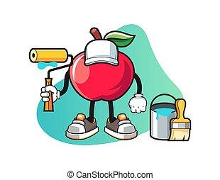 mela, carattere, mascotte, pittore, vector., cartoon.