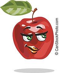 mela, carattere, vettore, cartone animato, far male, sguardo