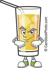mela, cartone animato, carattere, smirking, sidro