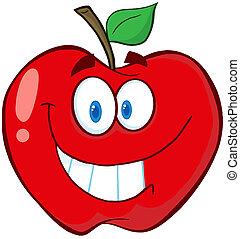 mela, cartone animato, mascotte, carattere
