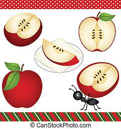 mela, clipart, digitale