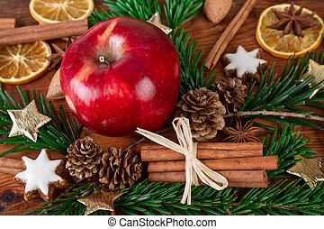 mela, closeup, spezie, natale, rosso, inverno