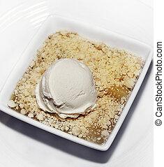 mela, dessert, vaniglia, ghiaccio, sbriciolare, crema