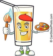 mela, dolce, cartone animato, pittore, sidro, mascotte