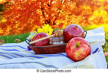 mela, e, miele, tradizionale, cibo, di, ebreo, anno nuovo, -, rosh, hashana.