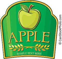 mela, etichetta