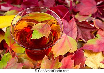 mela, foglie, sidro, autum, sfavillante, vetro