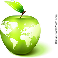 mela, globo, con, mappa mondo