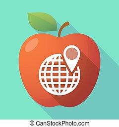 mela, globo, lungo, frutta, mondo, uggia, icona