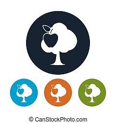 mela, icone, albero, quattro, rotondo, tipi