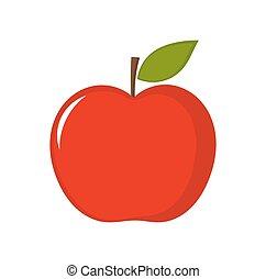 mela, illustrazione, rosso