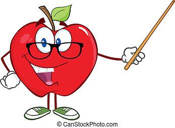 mela, insegnante, con, uno, puntatore