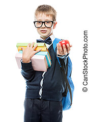 mela, isolato, uniforme, libri, proposta, fondo, bianco, scolaro