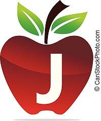 mela, j, vettore, disegno, lettera, logotipo, sagoma