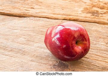 mela, legno, fondo, fresco, tavola, rosso
