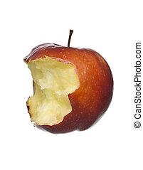 mela, mangiato, mezzo